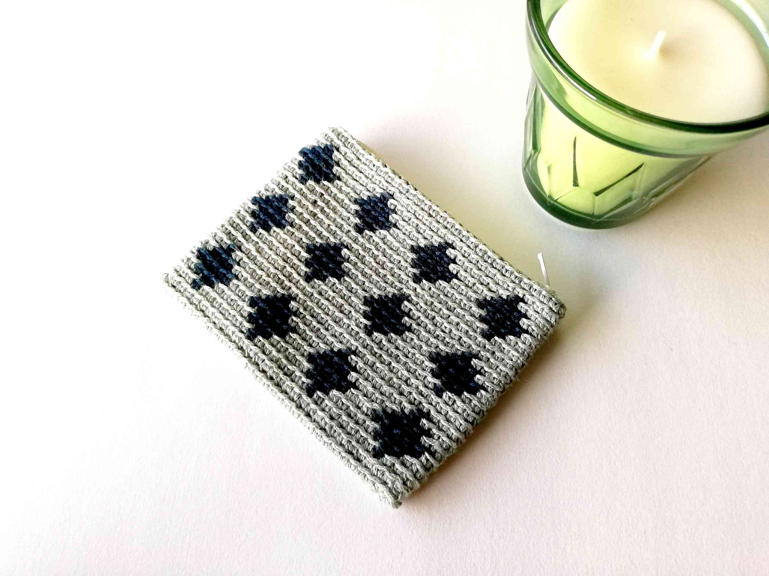 Tapestry crochet zipper pouch Blue Diamonds