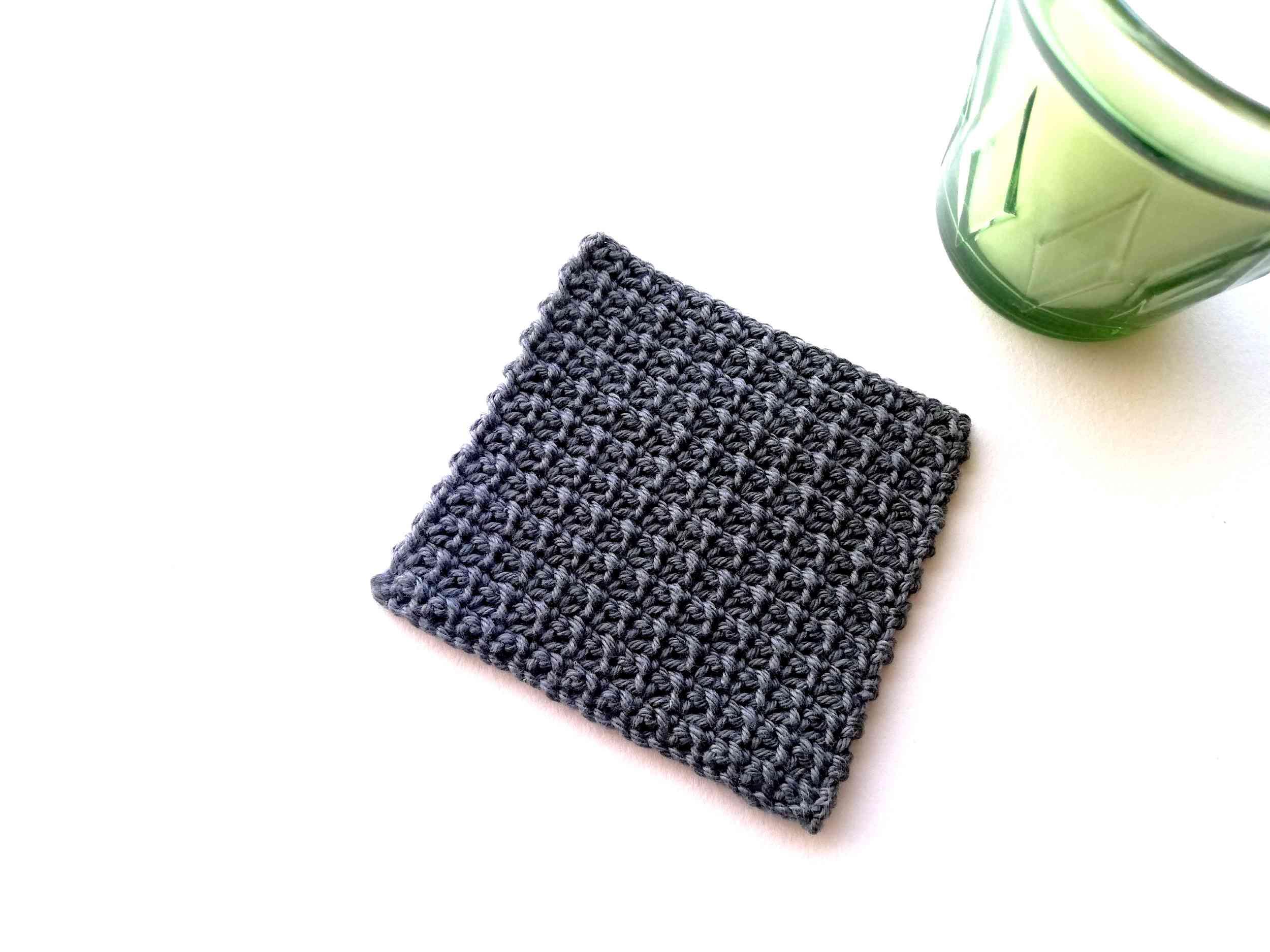 Simple single crochet mesh stitch coaster free pattern